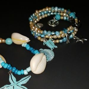 Jewelry - Take Me to the Sea Necklace Bracelet Earring set